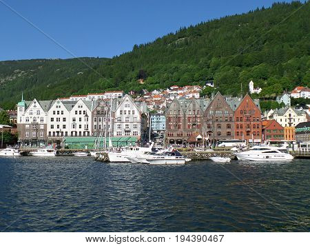 Bryggen Hanseatic Wharf, the historic wharf and fish market of Bergen, Norway