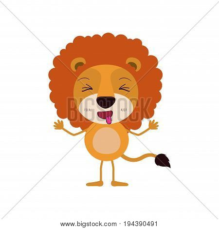 colorful caricature of cute lion disgust expression and sticking out tongue vector illustration