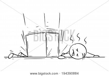 Cartoon vector stick man stickman drawing of a man who was hit wounded killed by large paper box falling work accident