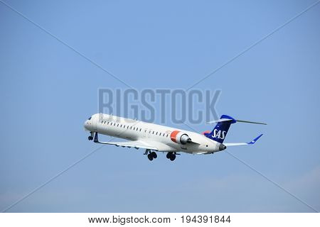 Amsterdam the Netherlands - May 6th 2017: EI-FPE SAS Scandinavian Airlines Canadair CRJ-900 takeoff from Polderbaan runway Amsterdam Schiphol Airport
