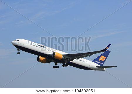 Amsterdam the Netherlands - May 6th 2017: TF-ISN Icelandair Boeing 767-300 takeoff from Polderbaan runway Amsterdam Schiphol Airport
