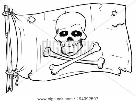 Vector cartoon of pirate flag with human skull and bones crossed