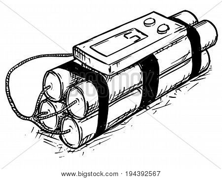 Vector cartoon of retro time bomb with digital display as timer
