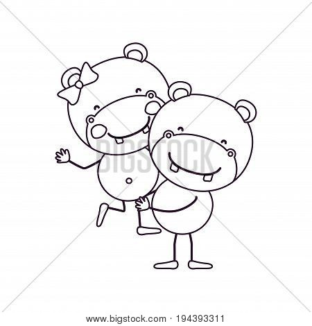 sketch contour caricature with couple of hippos one carrying the other cute animals love vector illustration