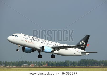 Amsterdam the Netherlands - July 6th 2017: OE-LBX Austrian Airlines Airbus A320 takeoff from Polderbaan runway Amsterdam Schiphol Airport