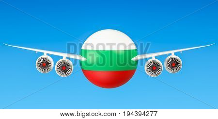 Bulgarian airlines and flying's flights to Bulgaria concept. 3D rendering