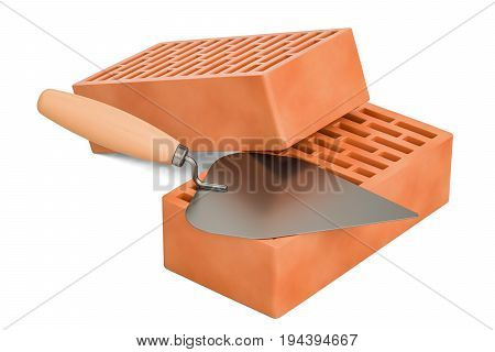 masonry trowel with bricks construction concept. 3D rendering isolated on white background