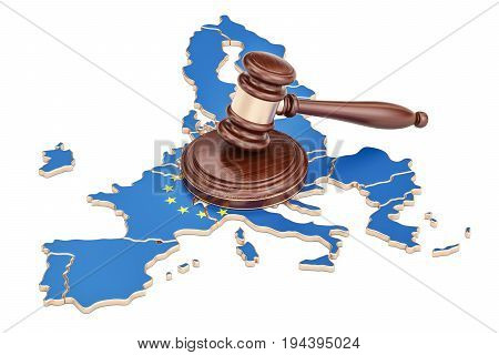 Wooden Gavel on map of EU 3D rendering isolated on white background