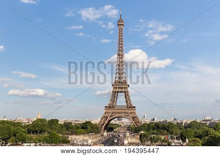View of the Eiffel Tower from Place de Trocadero in Paris France. The Eiffel Tower was constructed from 1887-1889 as the entrance to the 1889 World's Fair by engineer Gustave Eiffel.
