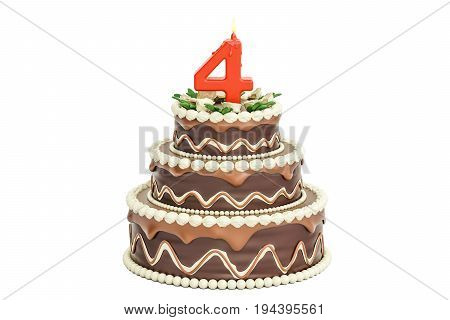 Chocolate Birthday cake with candle number 4 3D rendering isolated on white background