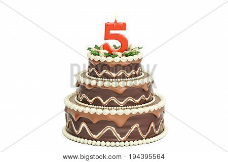 Chocolate Birthday cake with candle number 5 3D rendering isolated on white background