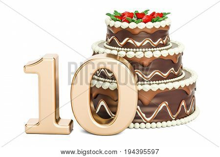 Chocolate Birthday cake with golden number 10 3D rendering isolated on white background