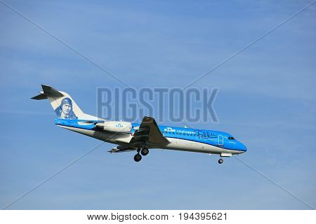 Amsterdam the Netherlands - July 7th 2017: PH-KZU KLM Cityhopper Fokker F70 approaching Schiphol Amsterdam Airport painted in