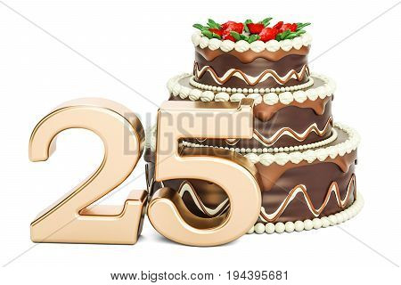 Chocolate Birthday cake with golden number 25 3D rendering isolated on white background