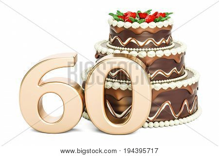 Chocolate Birthday cake with golden number 60 3D rendering isolated on white background