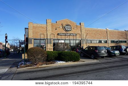 PETOSKEY, MICHIGAN / UNITED STATES - NOVEMBER 22, 2016: One may purchase wholesome food at the Grain Train Natural Foods Market in downtown Petoskey.