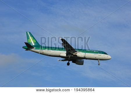 Amsterdam the Netherlands - July 7th 2017: EI-DVE Aer Lingus Airbus A320 approaching Schiphol Amsterdam Airport Polderbaan runway