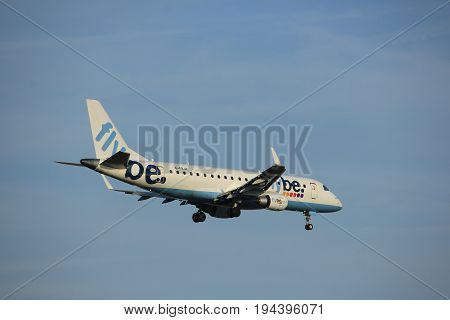 Amsterdam the Netherlands - July 7th 2017: G-FBJK Flybe Embraer ERJ-175STD approaching Schiphol Amsterdam Airport Polderbaan runway