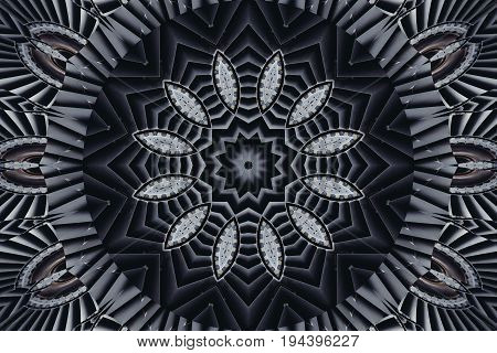 Kaleidoscope pattern abstract background. Round pattern. Architectural abstract fractal kaleidoscope background. Abstract turbine fractal pattern geometrical ornament. Abstract turnine fractal