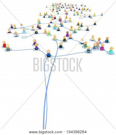 Crowd of small symbolic 3d figures linked by lines tethered network system isolated