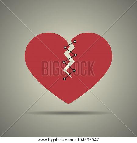 Broken and stitched heart icon flat design black and white colors