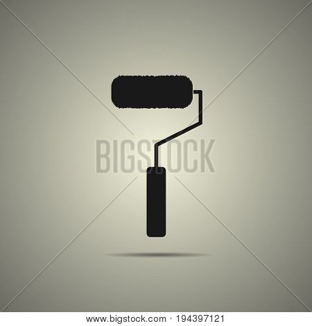 roller brush icon in flat black and white style isokated