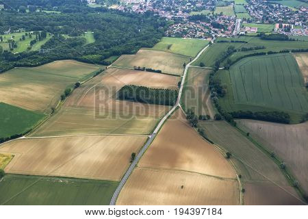 Aerial view of countryside and villages approaching Lyon, France