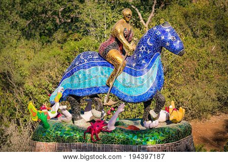 Pescia Fiorentina Italy - June 24 2017: The Tarot Garden is a sculpture garden based on the esoteric tarot created by the French artist Niki de Saint Phalle.