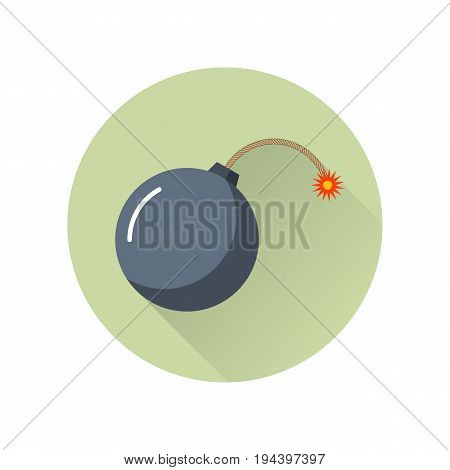 Black bomb icon with burning wick isolated