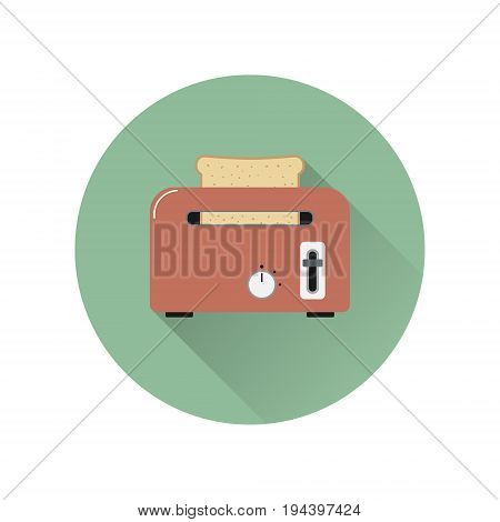 Toaster with bread in flat style isolated