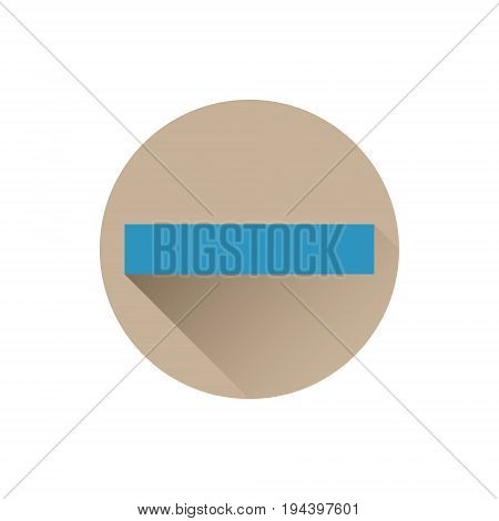 Blue minus icon in flat style isolated