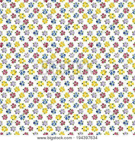 Calico Watercolor Forget Me Not Pattern. Splendid Seamless Cute Small Flowers For Fabric Design. Cal