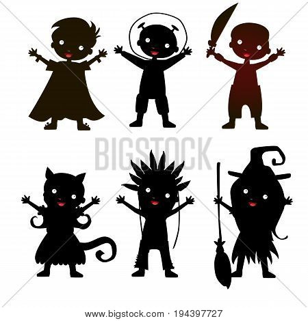 Set of children silhouette in Halloween costume and dress on the white background. Vector kids carnaval suits