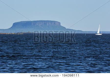 Lake Superior At Thunder Bay with a butte.