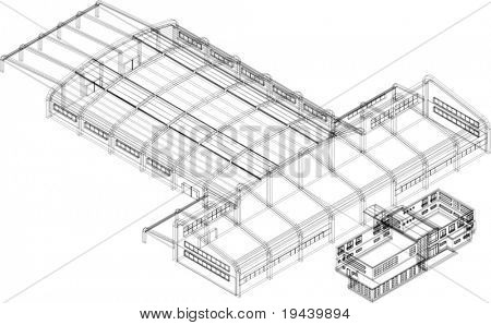 vector of 3D building in wire frame