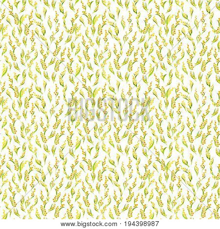 Calico Watercolor Mimosa Pattern. Ideal Seamless Cute Small Flowers For Fabric Design. Calico Patter