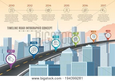 Timeline infographic road concept on similar New York City skyline. Navigation map template. Vector illustration