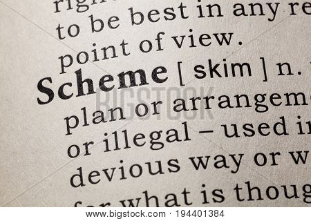 Fake Dictionary Dictionary definition of the word scheme. including key descriptive words.