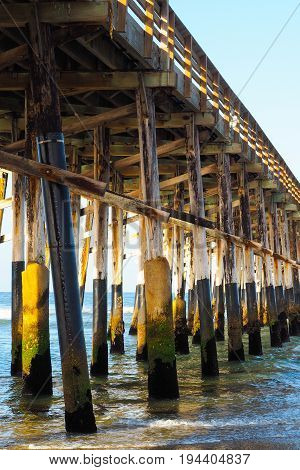 Beach pier structure at Newport Beach California