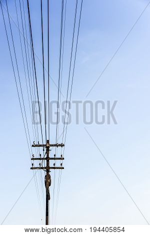 electric wire on the pole, power, Minimalist