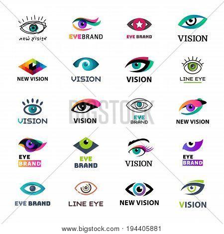 Eye blinker business icon glimmer template logo idea startup light company badge vector illustration. Look see creative eyeball optical watch emblem.