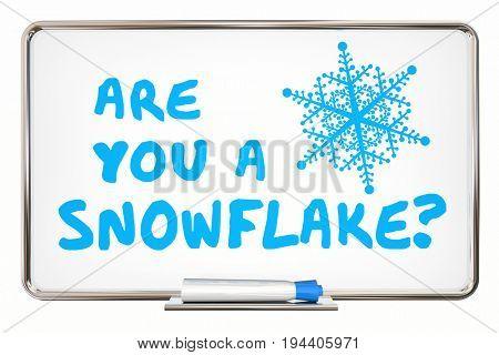 Are You a Snowflake Sensitive PC Fragile Millennial 3d Illustration