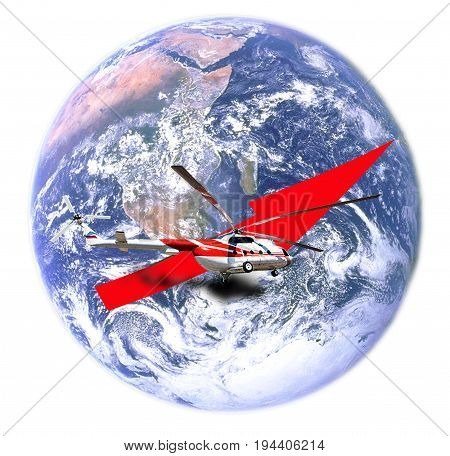 helicopter commencing a flight around the globe