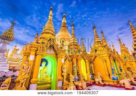 Shwedagon Pagoda stupas in Yangon, Myanmar.