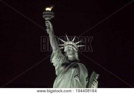 Statue of Liberty at night in New York.