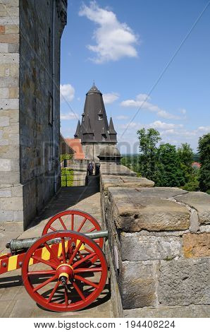 A old historic cannon on the walls of castly Bad Bentheim in Germany