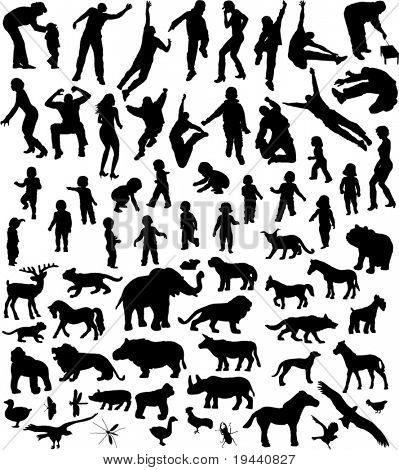 many silhouettes of people and animal in action and in place
