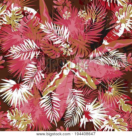 Tropical floral seamless palm trees pattern a camouflage background trendy colors. Graphic painting exotic plants and jungle on a grunge abstract background