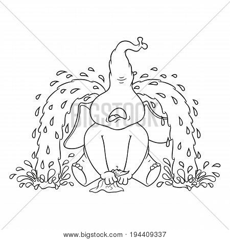 Elephant. Character. Sobs, big tears. Big collection of isolated elephants. Vector, cartoon.