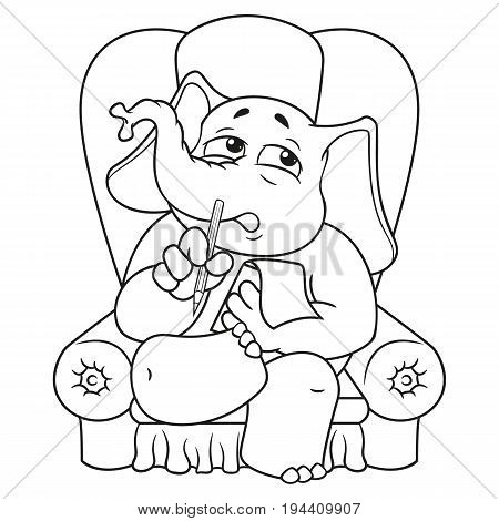Elephant. Character. Psychologist sitting in a chair listening to. Big collection of isolated elephants. Vector, cartoon.